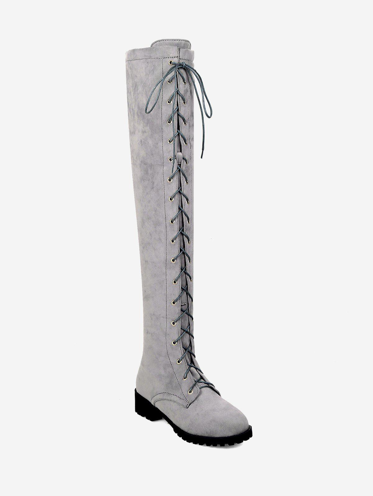 Buy Chunky Heel Suede Thigh High Boots