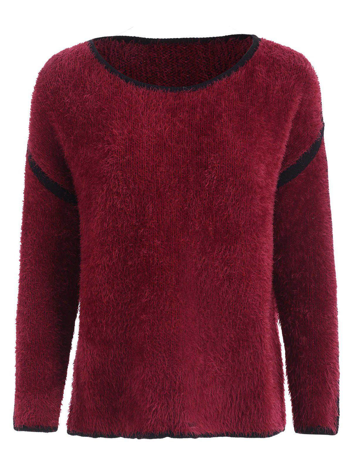 Affordable Drop Shoulder Fuzzy Pullover Sweater