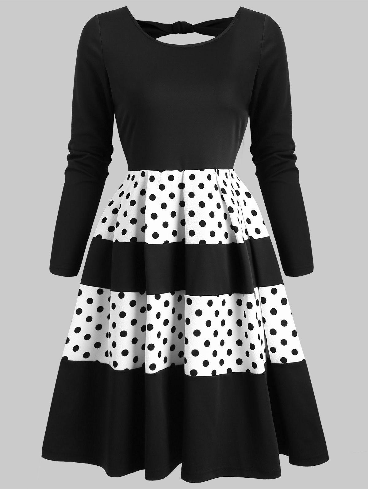 Sale Contrast Dotted Back Cut Out Mini Dress