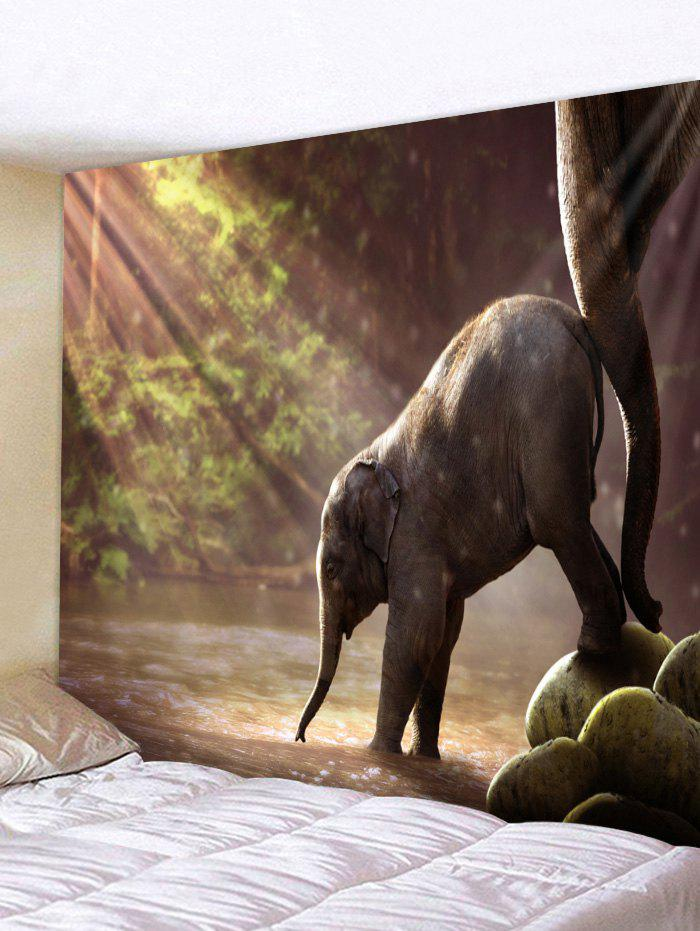 Cheap Wall Hanging Art Sunlight Elephant Print Tapestry