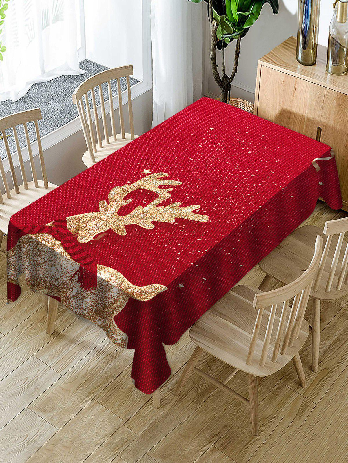 Outfit Christmas Elk Print Fabric Waterproof Tablecloth