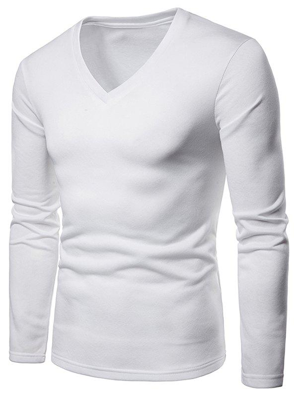 Outfits V Neck Solid Color Fleece T-shirt