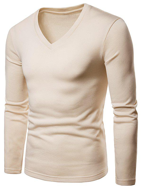 Fashion V Neck Solid Color Fleece T-shirt