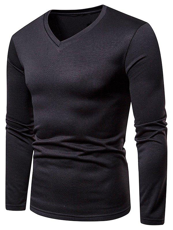 Unique V Neck Solid Color Fleece T-shirt