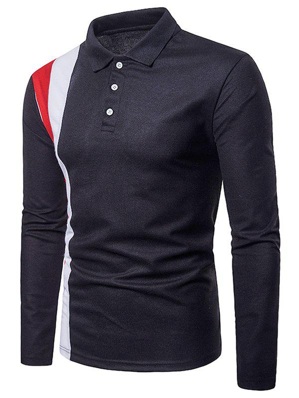 New Splicing Polo Collar Casual Tee
