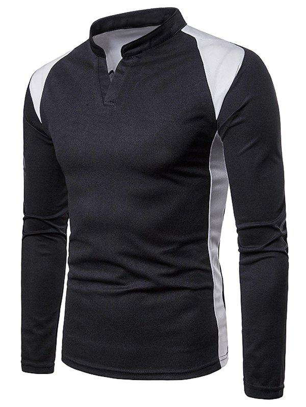 Chic Casual Color Block Stand Collar T-shirt