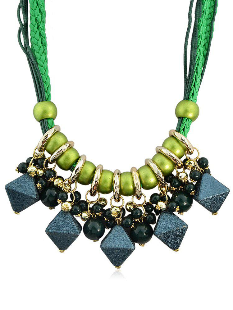 Hot Geometric Shape Beads Layered Rope Necklace