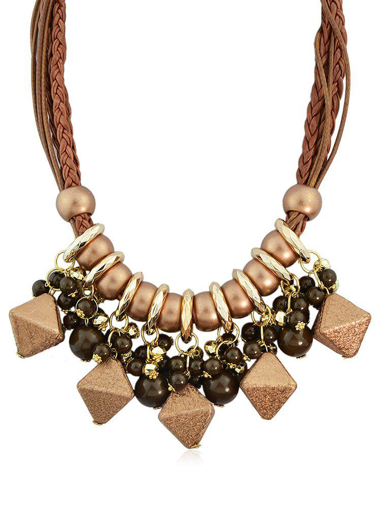 Store Geometric Shape Beads Layered Rope Necklace
