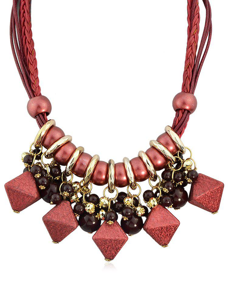 Outfit Geometric Shape Beads Layered Rope Necklace