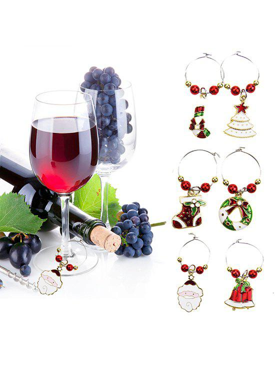 Affordable Christmas Theme Beads Wine Charm Ring Set