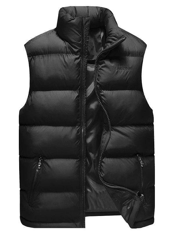 Cheap Stand Collar Zip Up Cotton-Padded Vest