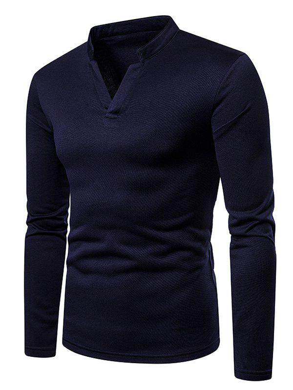Store Solid Color V Neck Fleece Long Sleeves T-shirt