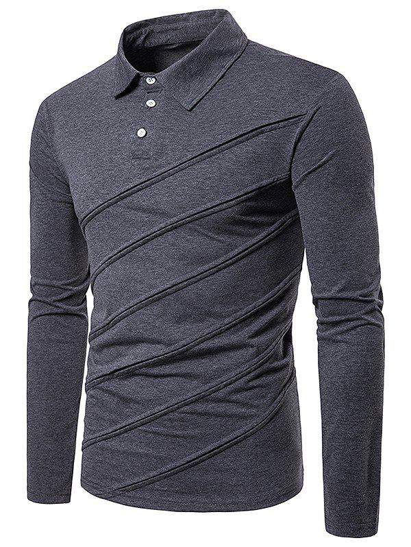 Best Spliced Fold Design Solid Color Polo Shirt