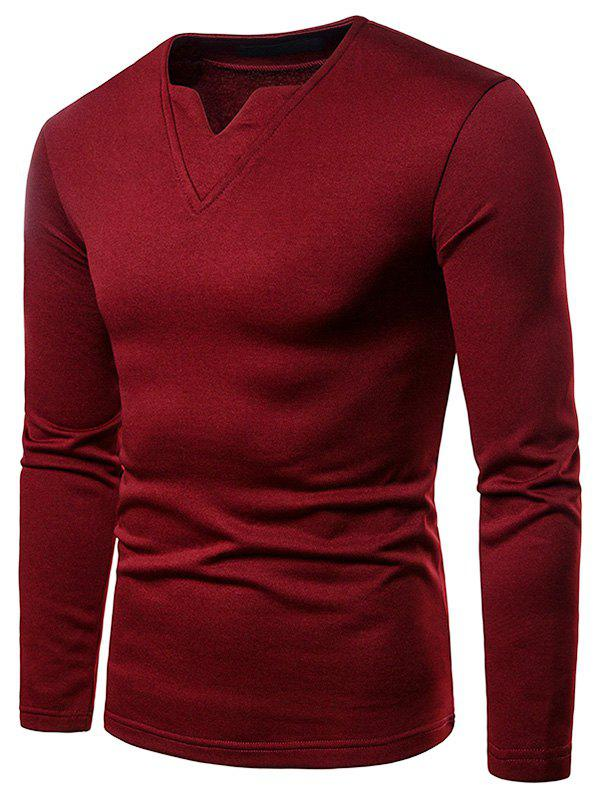 Affordable Notch Collar Fleece Solid Color T-shirt