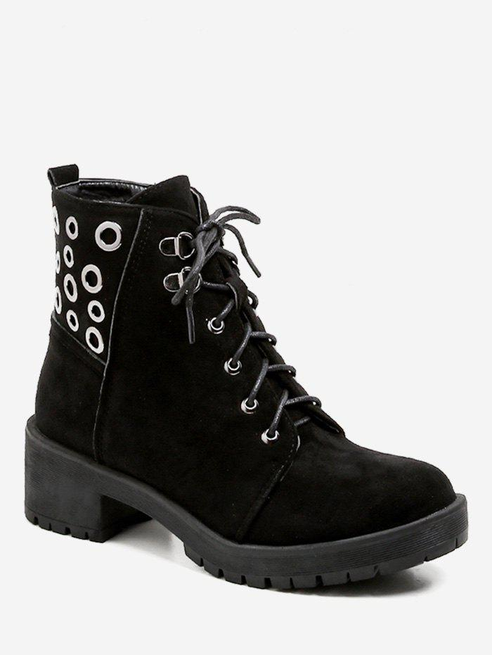 Cheap Lace Up Grommet Suede Ankle Boots