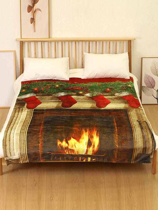 Outfits Christmas Fireplace Flannel Soft Bed Blanket