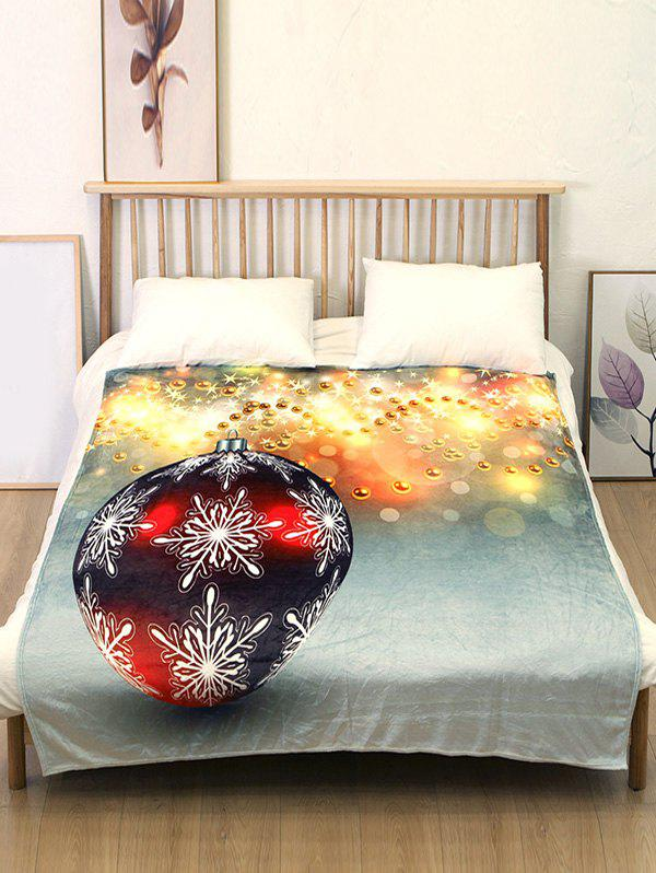 Best Christmas Snowflake Ball Print Flannel Soft Bed Blanket