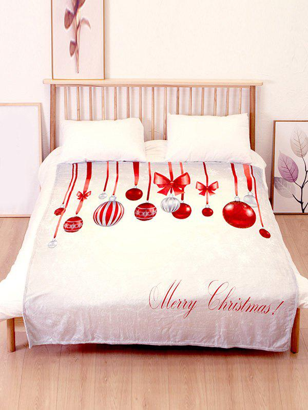 Hot Merry Christmas Ball Printed Flannel Soft Bed Blanket