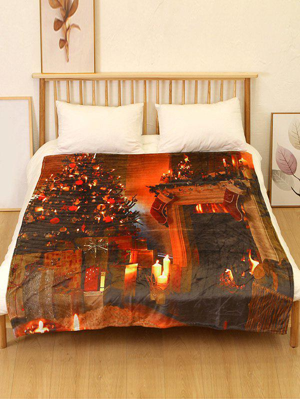 Trendy Christmas Tree Fireplace Print Flannel Soft Bed Blanket