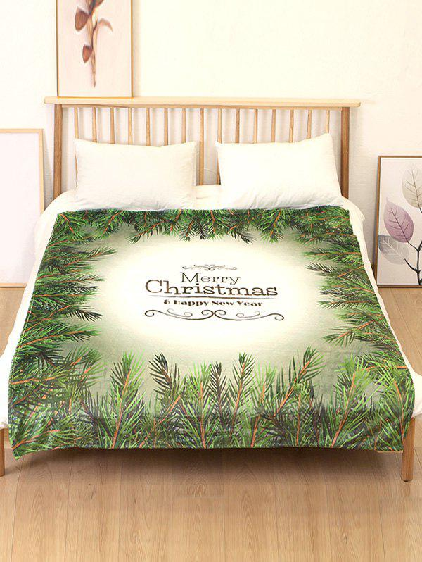 Outfits Merry Christmas Leaf Print Flannel Soft Bed Blanket