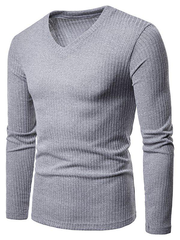 Cheap Solid Color V Neck Knitwear