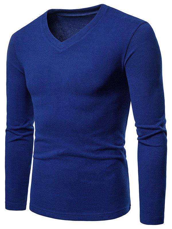 Store V Neck Long Sleeve Slim Fit T-shirt