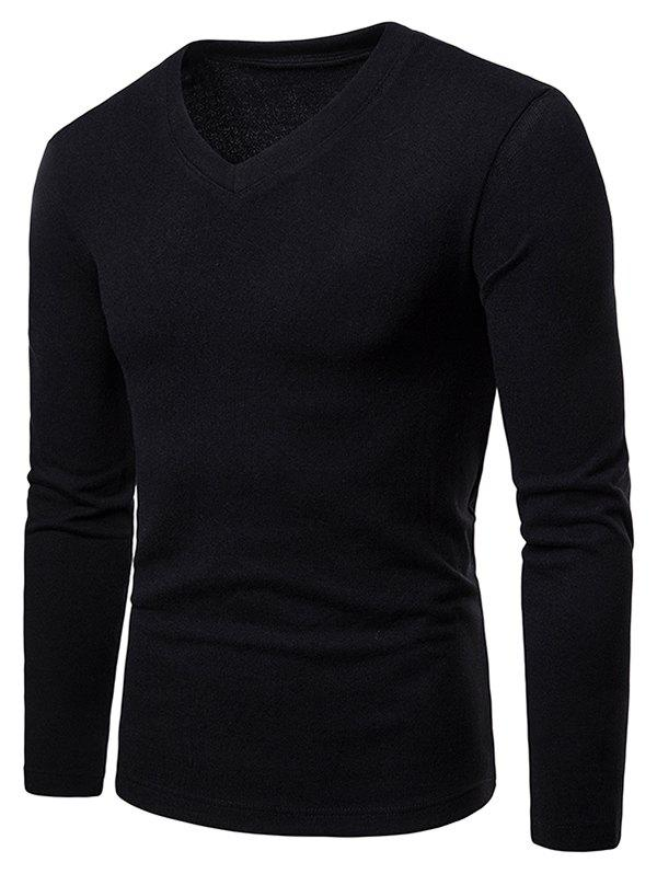 Fancy V Neck Long Sleeve Slim Fit T-shirt