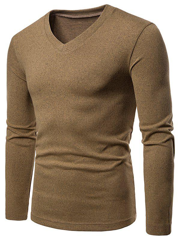 Outfits V Neck Long Sleeve Slim Fit T-shirt
