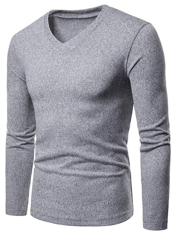 Discount V Neck Long Sleeve Slim Fit T-shirt