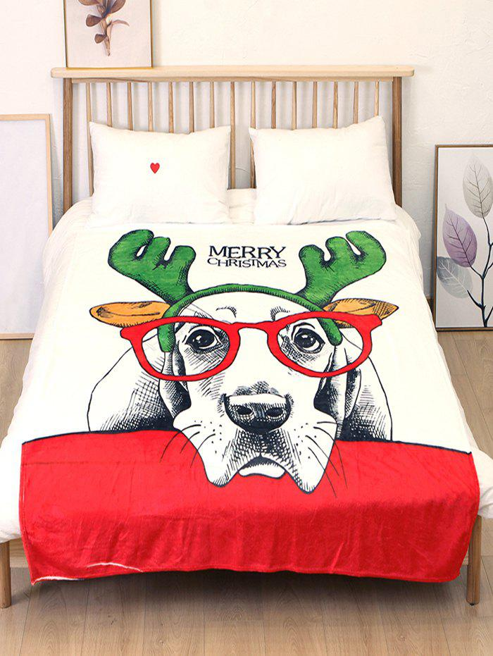 Online Merry Christmas Dog Printed Flannel Bed Blanket