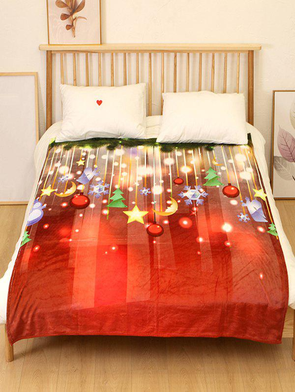 Hot Christmas Tree Moon Star Flannel Soft Bed Blanket