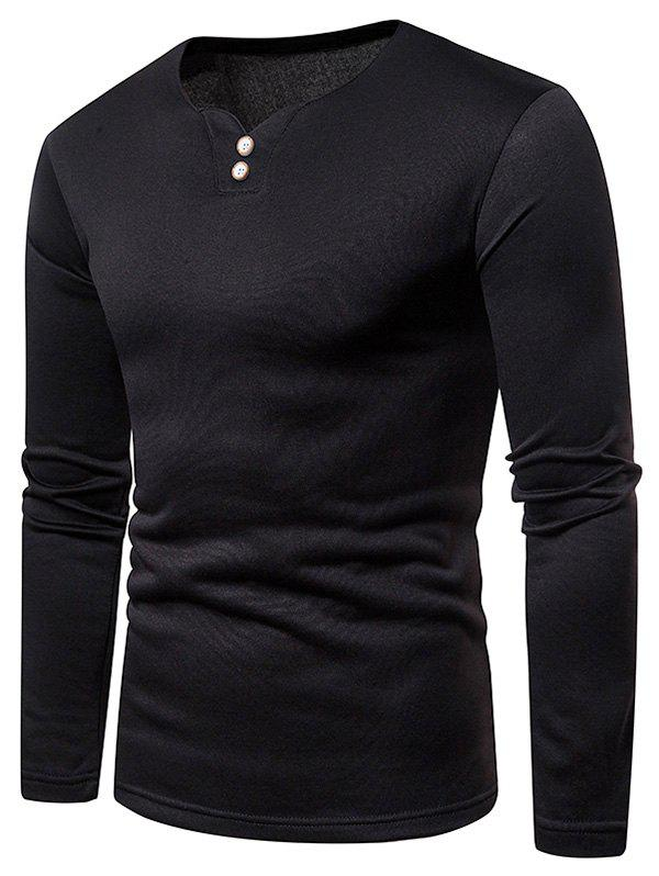 Shops Button Embellished Fleece Long Sleeve T-shirt