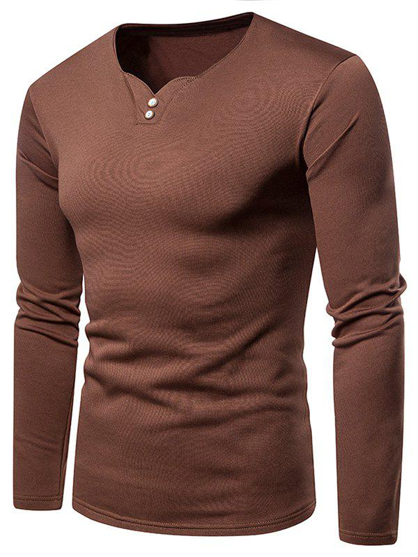 Outfit Button Embellished Fleece Long Sleeve T-shirt