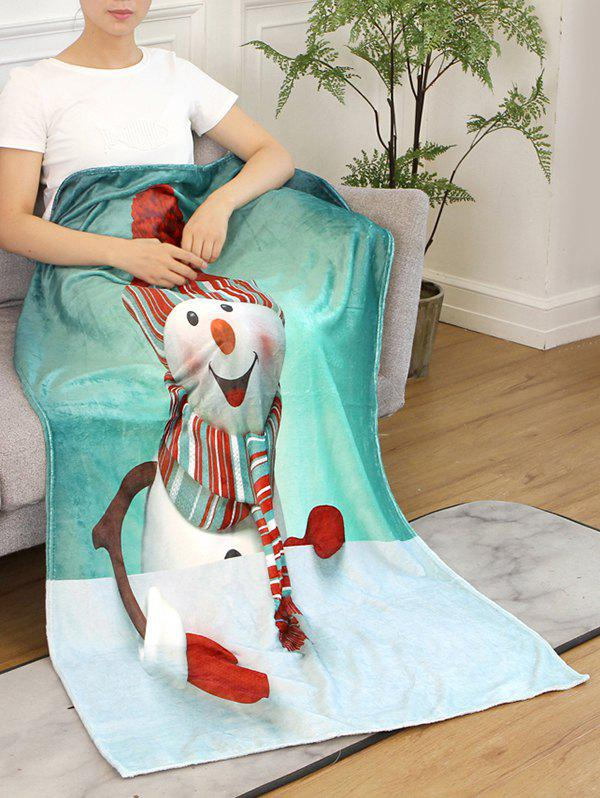 Fashion Snowman Print Flannel Soft Bed Blanket