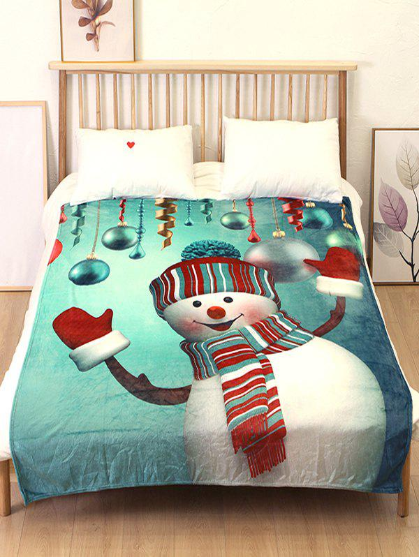 Latest Christmas Snowman Ball Flannel Soft Blanket