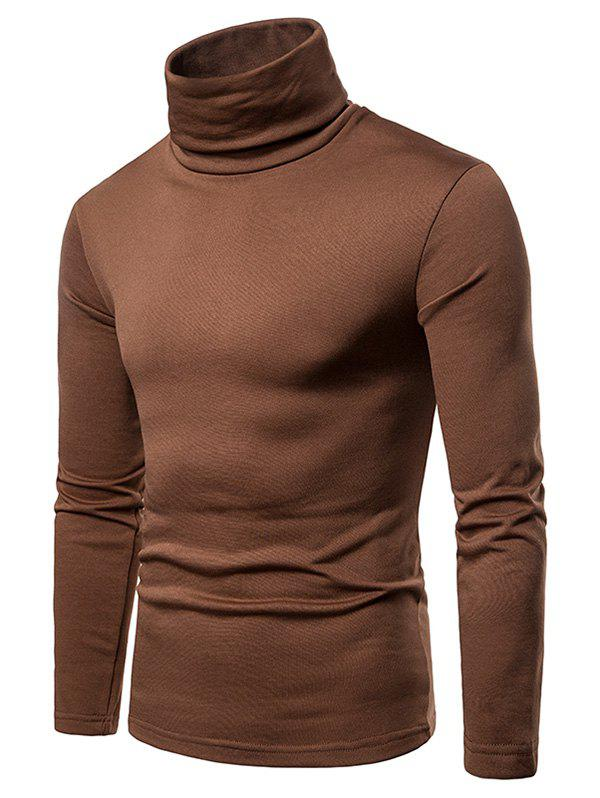 Affordable Turtle Neck Solid Color Tee