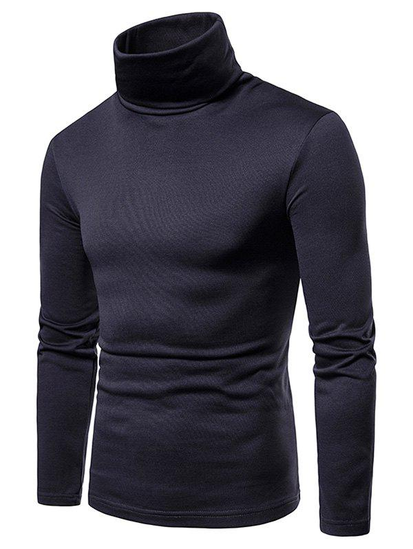 Cheap Turtle Neck Solid Color Tee