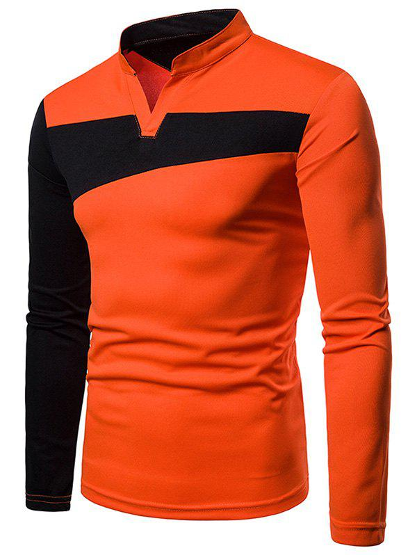 Outfit Stand Collar Contract Color Long Sleeve T-shirt