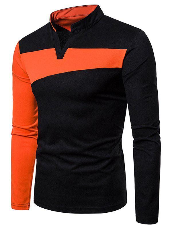 Fancy Stand Collar Contract Color Long Sleeve T-shirt