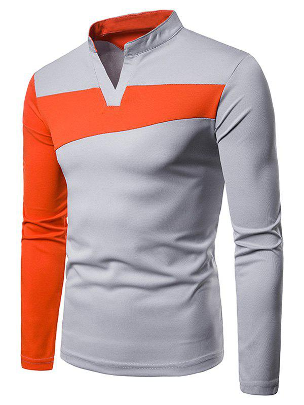 Buy Stand Collar Contract Color Long Sleeve T-shirt