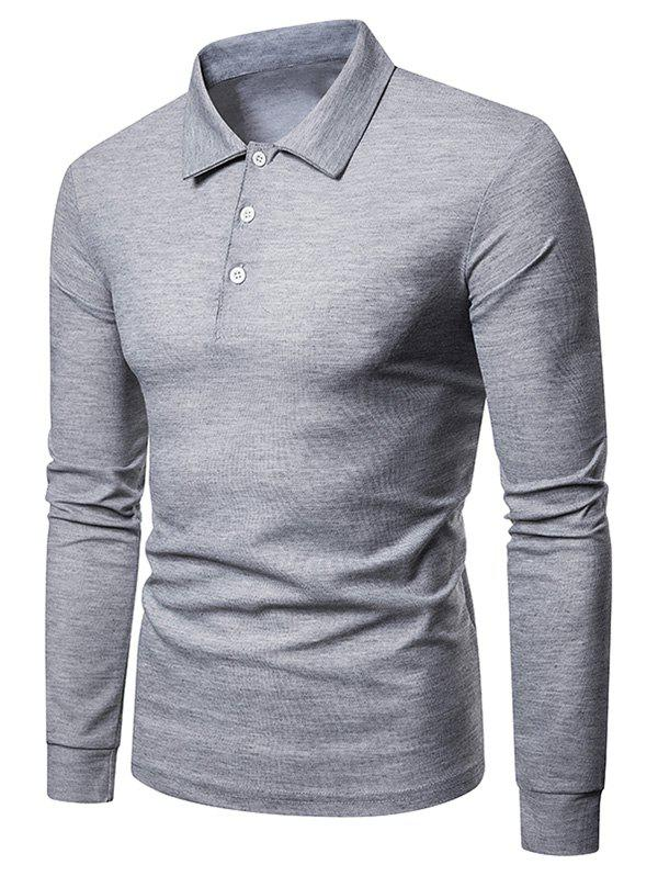 Outfit Solid Color Polo Collar Tee