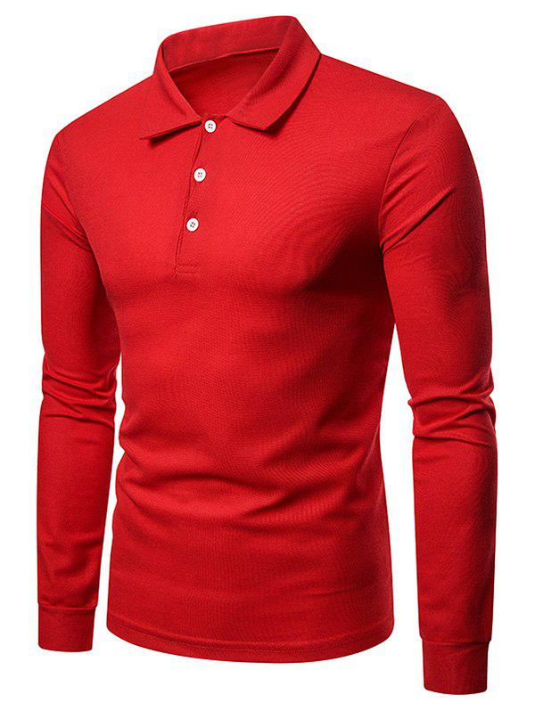 Chic Solid Color Polo Collar Tee