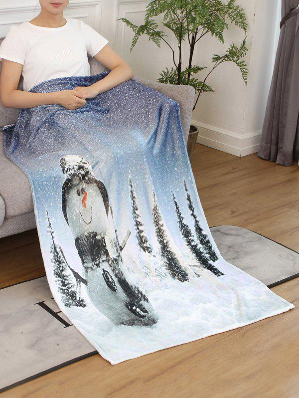 Online Snowman Christmas Printed Flannel Bed Blanket
