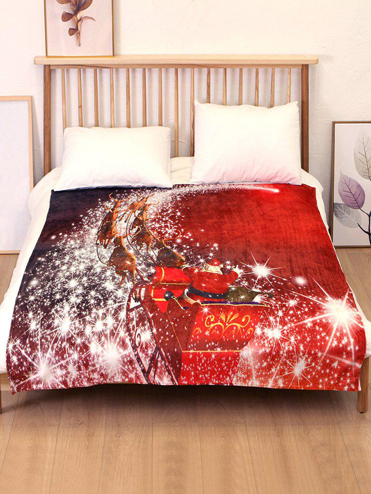 Store Christmas Sleigh Elk Print Flannel Soft Bed Blanket