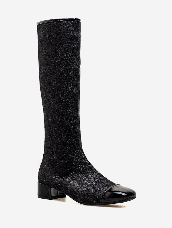 Fancy Chunky Heel Sparkling Knee High Boots