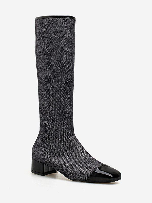 Sale Chunky Heel Sparkling Knee High Boots