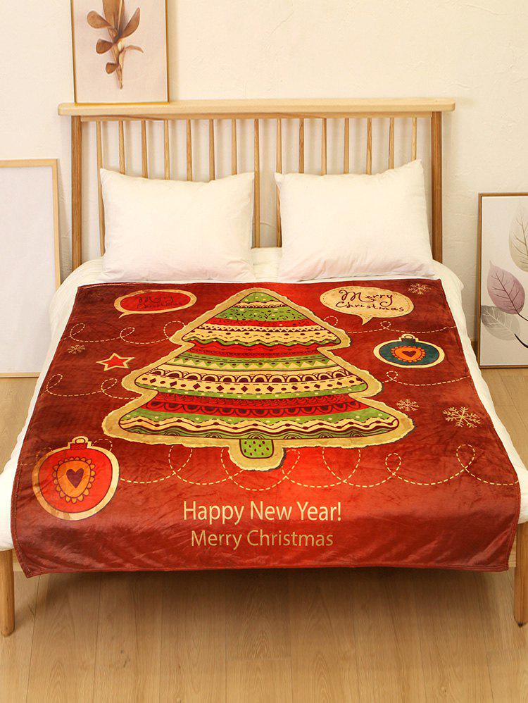 Shop Christmas Tree Star Print Flannel Soft Bed Blanket