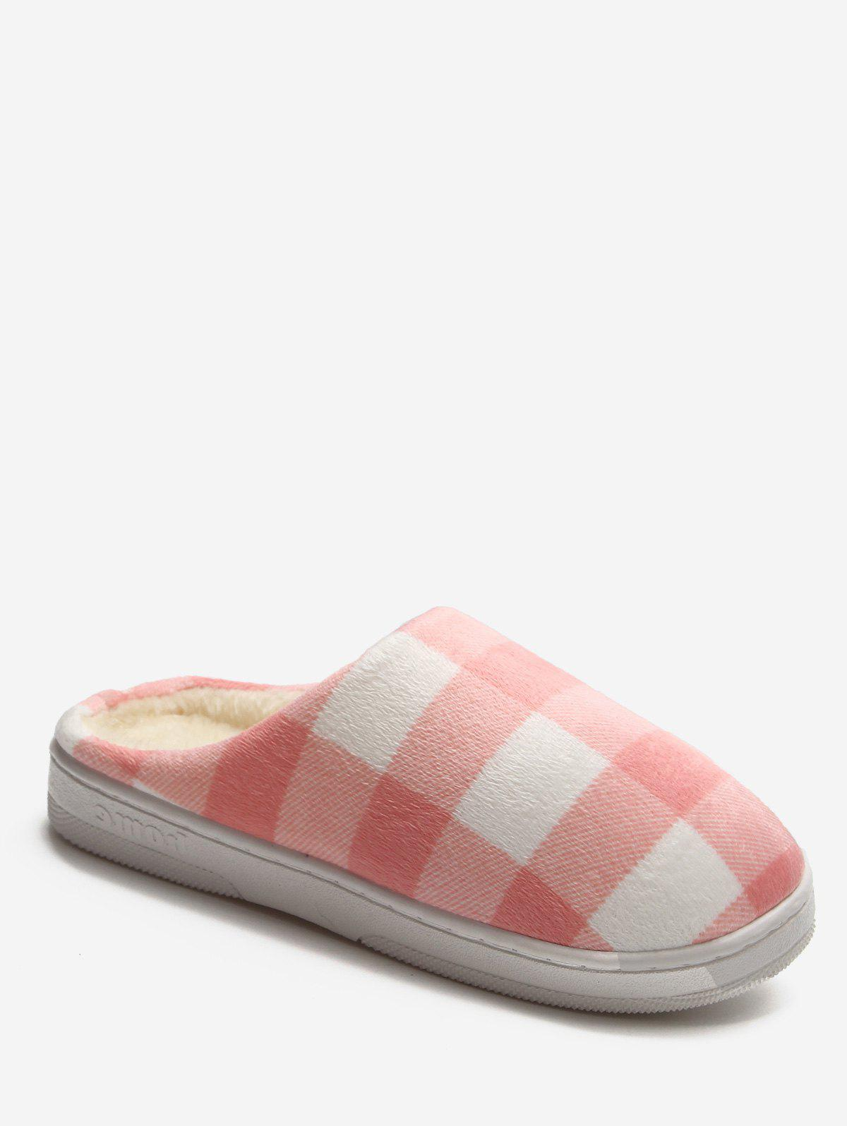 Fancy Plaid Cotton Indoor Warm Slippers