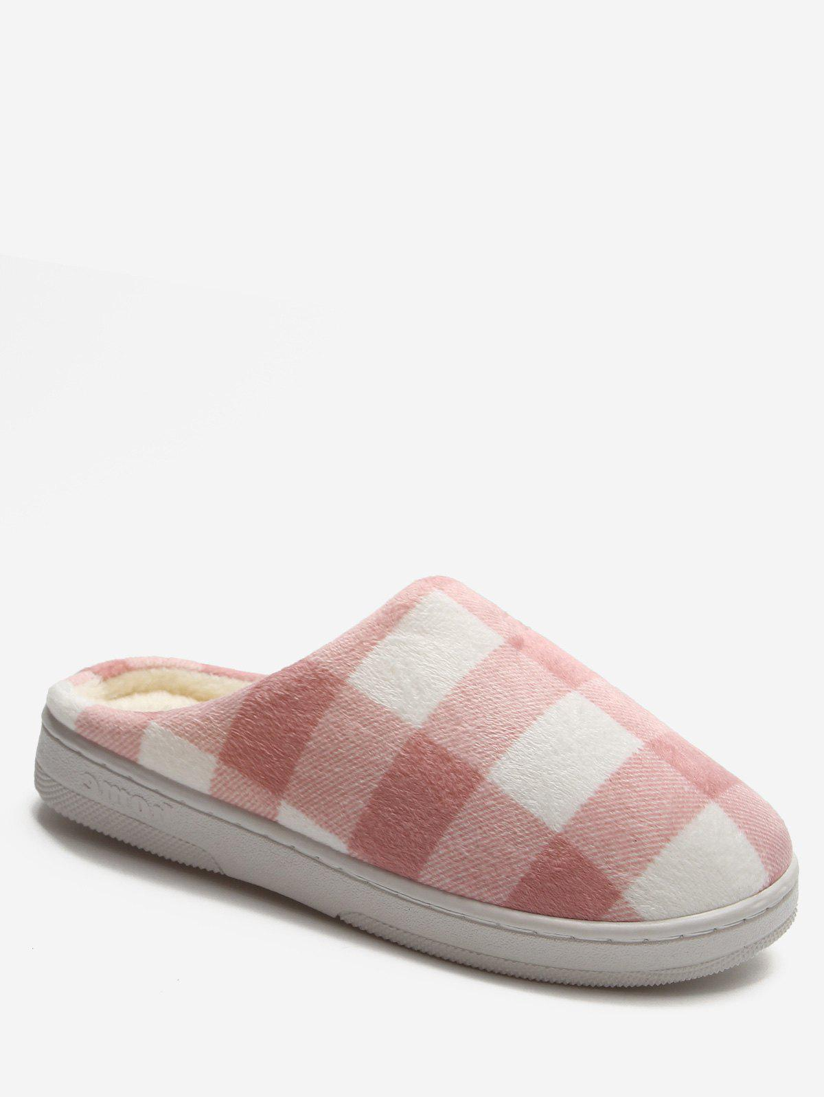 Outfit Plaid Cotton Indoor Warm Slippers