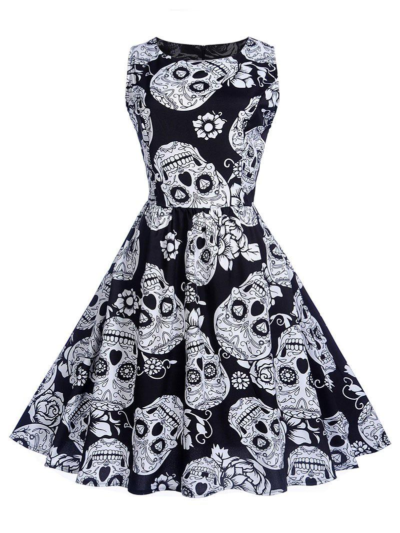 Hot Halloween Vintage Skull Print Swing Dress
